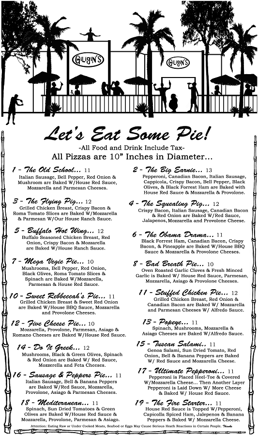 Pizza Menu Page 1